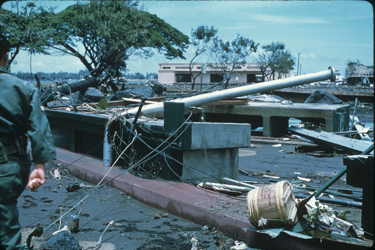 Structural damage from tsunami in Hilo