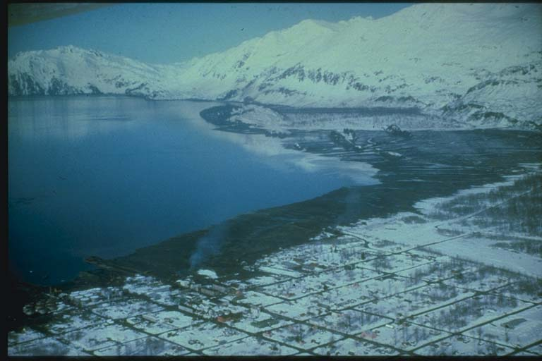 Aerial View of Valdez, AK after 1964 Tsunami