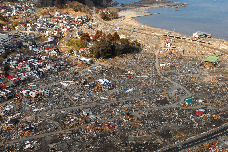 The path of destruction from the Tohoku, Japan, tsunami in 2011
