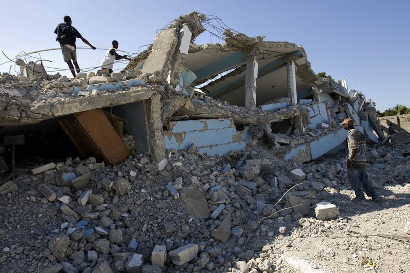 School Collapsed by Quake in Slum of Cité Soleil