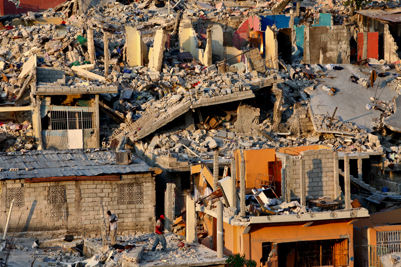 Houses destroyed by the earthquake