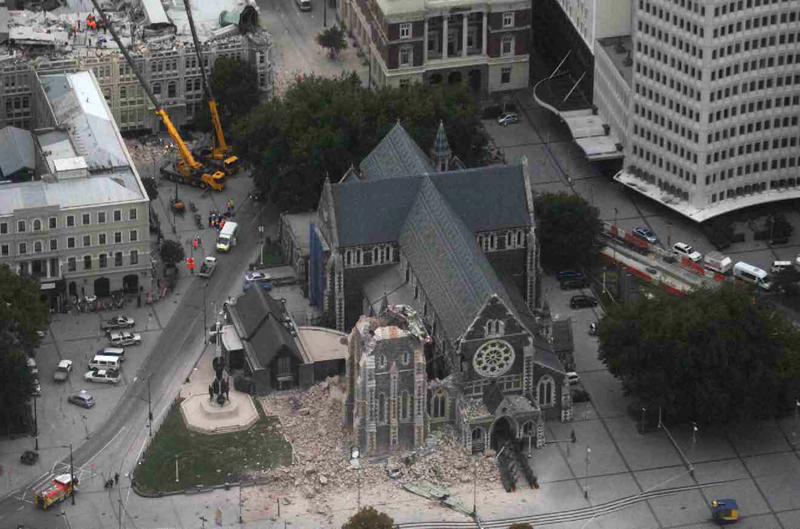 Damage to Christchurch Cathedral