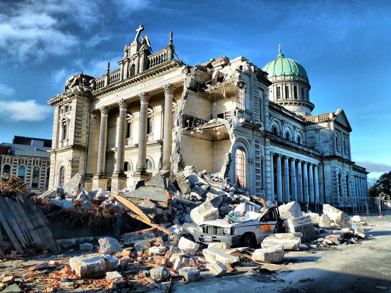 Cathedral of the Blessed Sacrament with crushed car