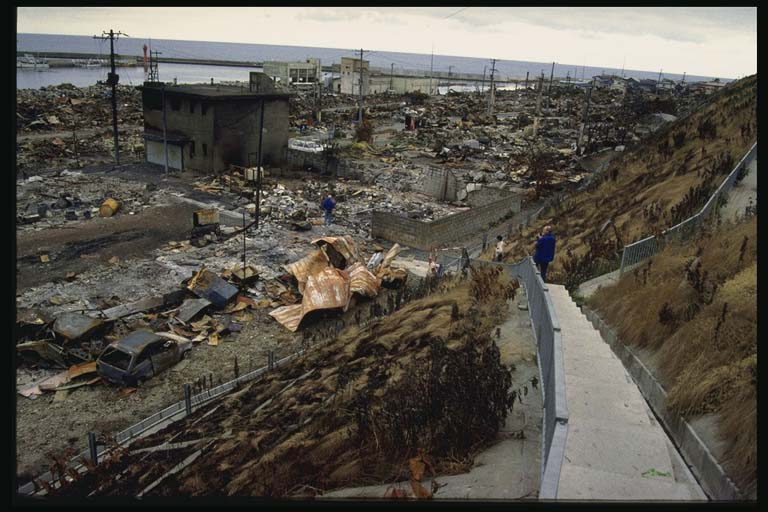 Tsunami damage at Aonae, Okushiri Island