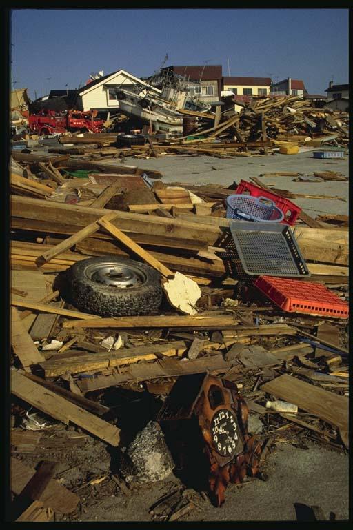 Scattered debris at Aonae, Okushiri Island