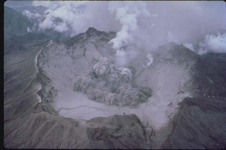 Aerial View of Small Explosion in Pinatubo Crater