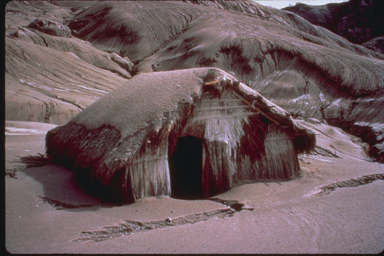 Effect of Ash Fall on Native Hut