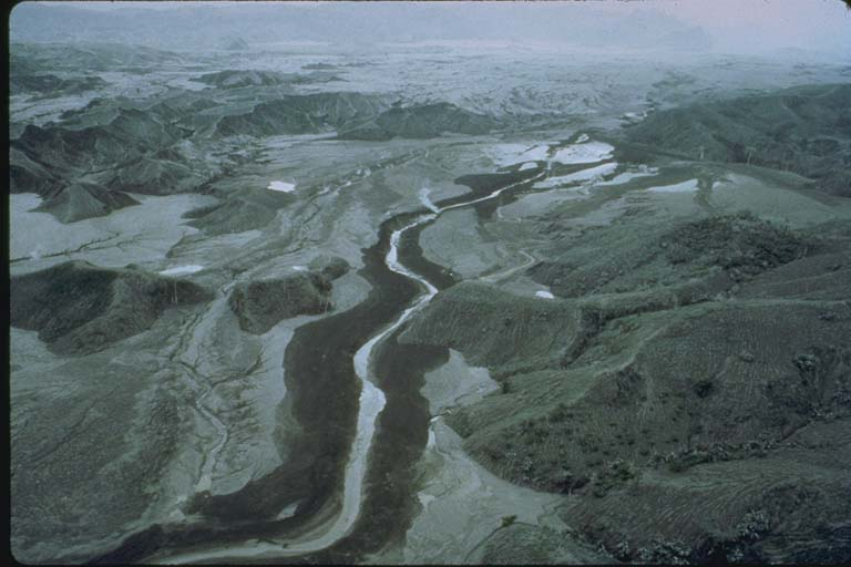 Aerial View of Valley Filled with Mudflows