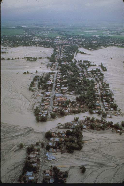 Aerial View Flooding in Village