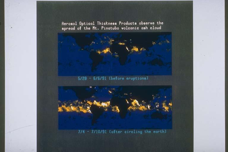 Satellite Photos Showing Movement of Aerosol Cloud