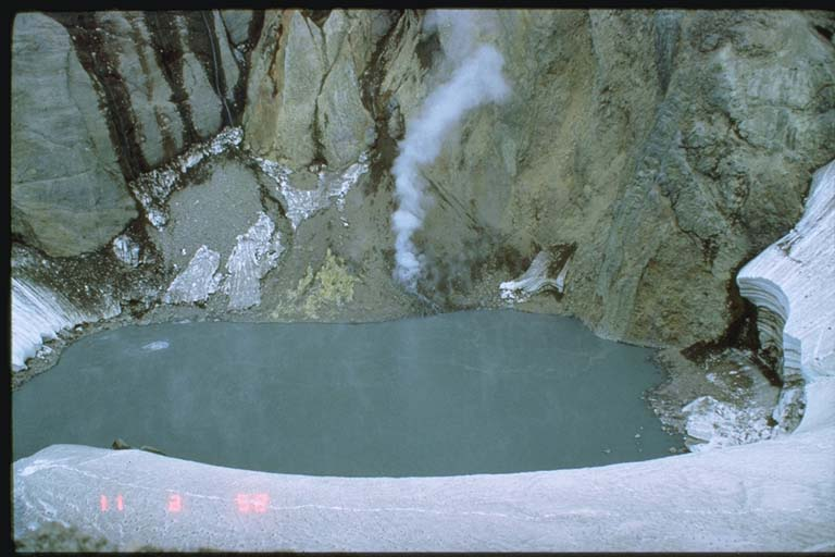 Warm lake within the Crater Peak basin prior to eruption
