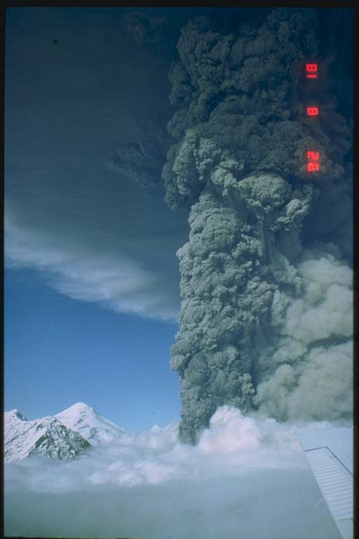 Ash cloud rising off south flank of Crater Peak