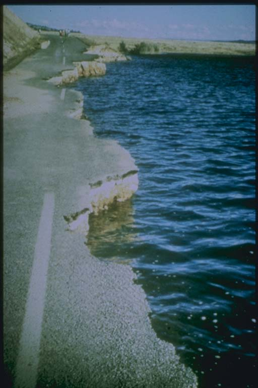 Highway Slumped into lake after Earthquake Shaking, Hebgen Lake, MT