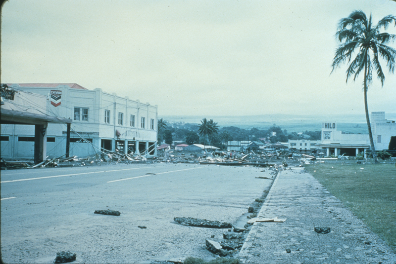 Tsunami damage in Hilo, showing debris left by the waves
