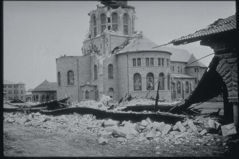 Damage to Chapel at Stanford University