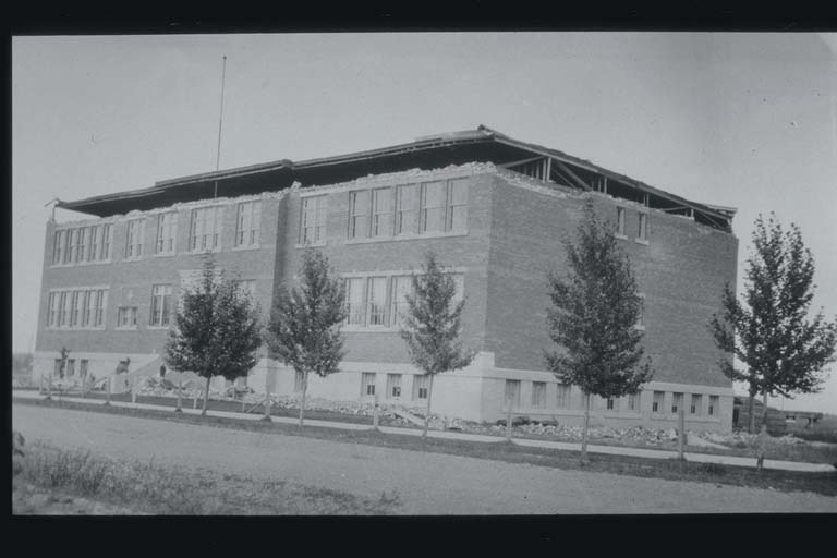 Damage to High School at Three Forks, Montana