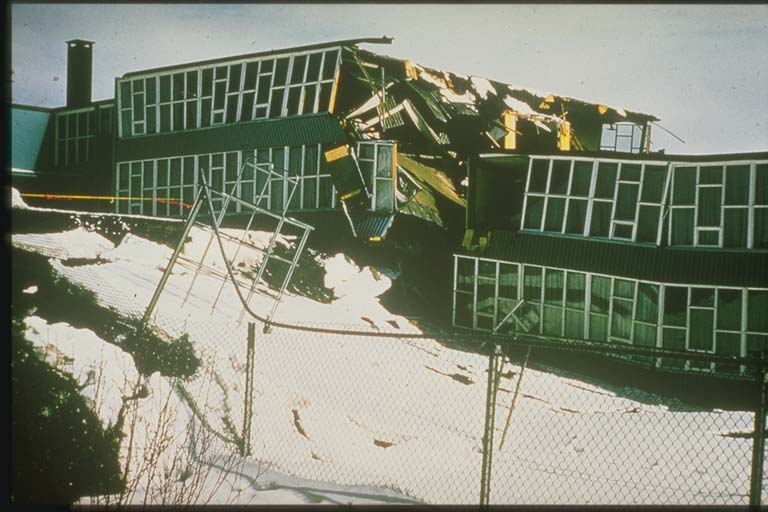 School Split by Slumping Ground, 1964, Alaska