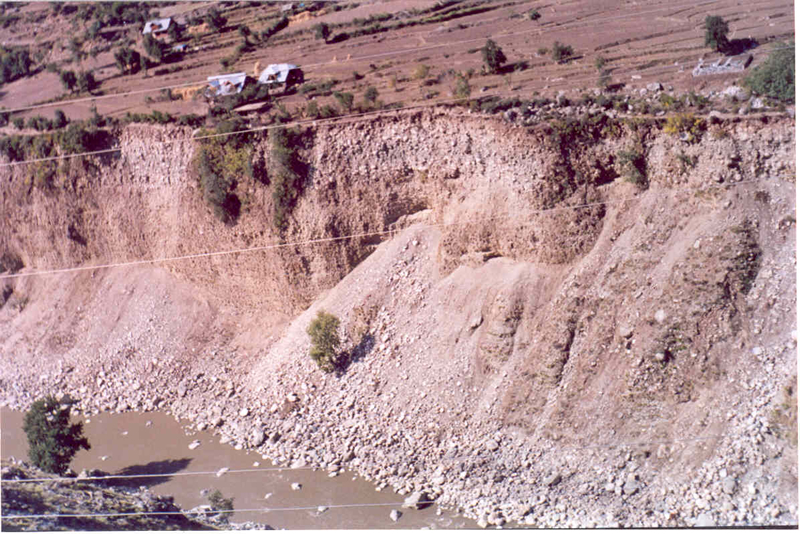 Failure of terrace slopes on right bank of Jhelum River near Mohura