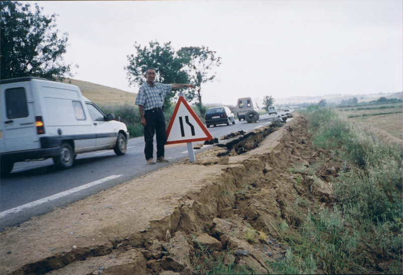 Slumps and cracks in a road near Algiers, Algeria