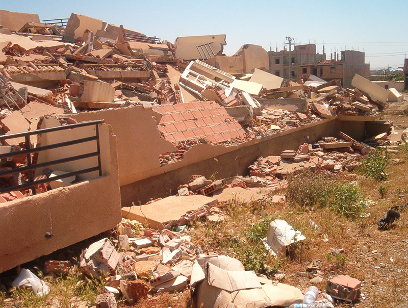 Modern building completely collapsed in Boumerdes, Algeria