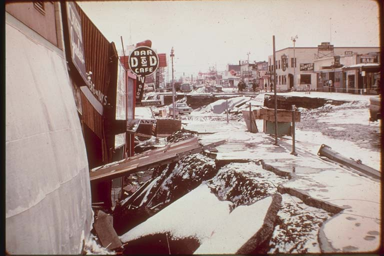 Damage to Fourth Avenue, Anchorage, Alaska