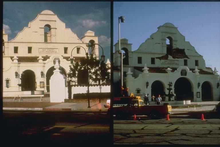 Two Views of Auditorium Showing Damage