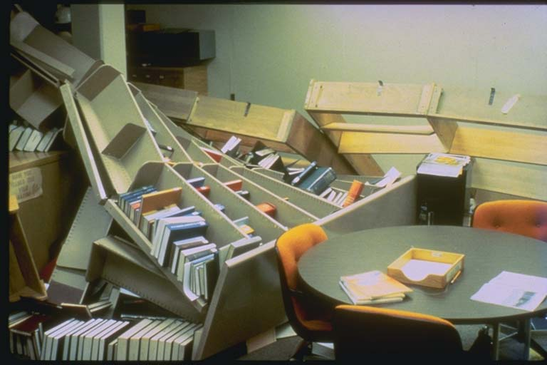 Fallen Bookcases at the Lawrence Livermore Lab