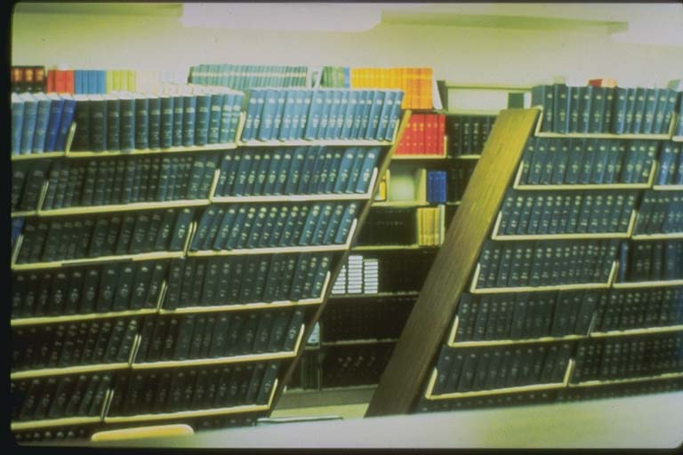 Tilted bookcases at the Lawrence Livermore Lab