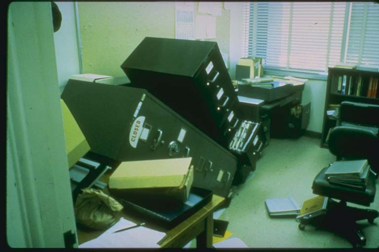 Tipped filing cabinets at the Lawrence Livermore Lab