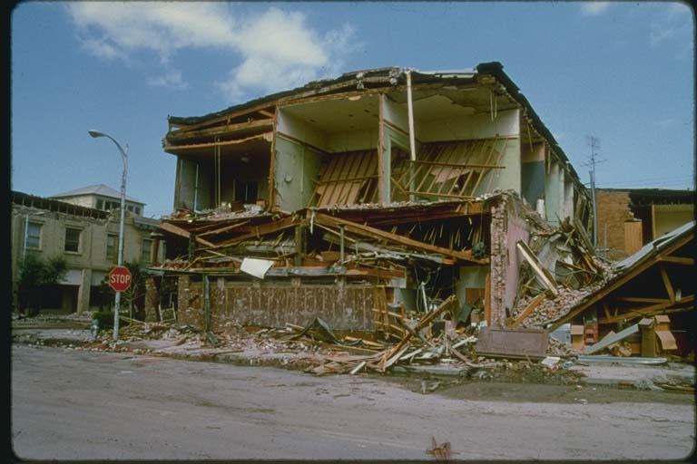 Street Level View of Damaged Building at 5th Street and Elm Avenue, Coaling