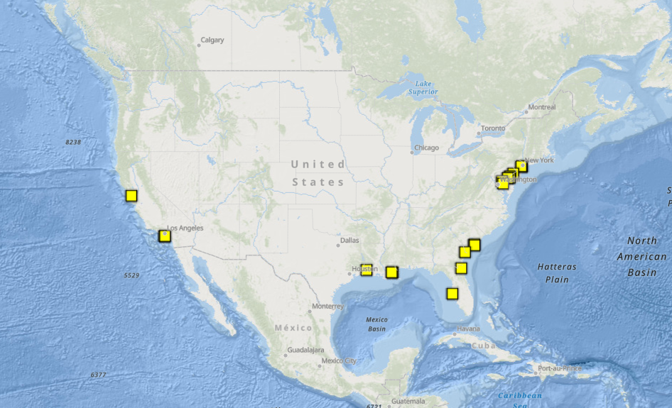 Map of Bridges Instrumented with CO-OPS Air Gap Sensors