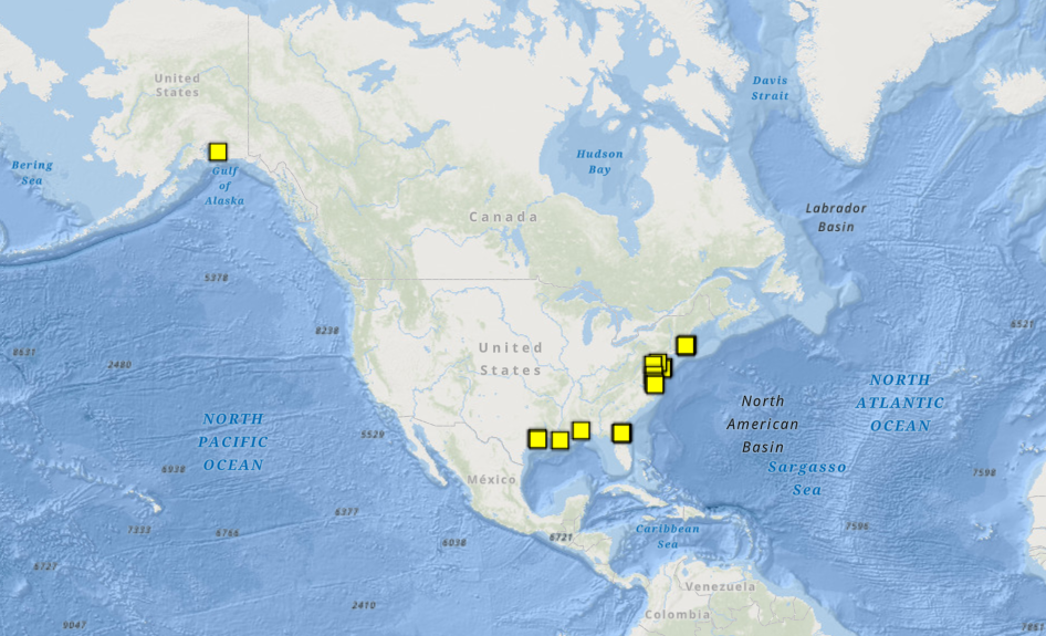 Map of Stations with CO-OPS Conductivity Sensors