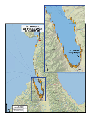 Tsunami Runup Map for the 28 September 2018 Sulawesi Earthquake and Tsunami. Select image for a larger view