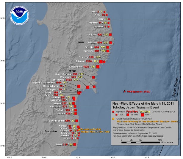 The near-field effects of the 2011 Tohoku Earthquake and Tsunami including deaths and missing. (Data current as of September 30, 2011).