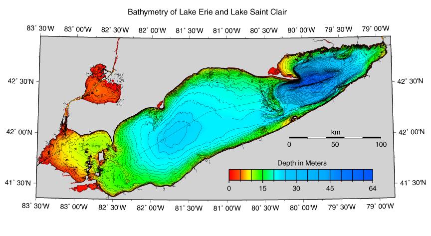 Bathymetry Of Lake Erie And Lake Saint Clair - Lake erie topographic map