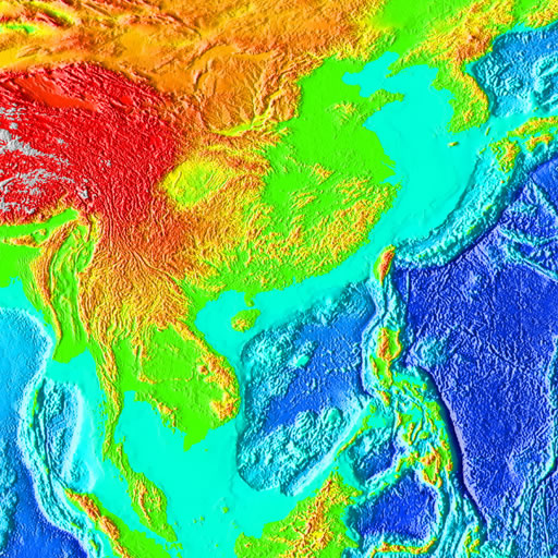 color shaded relief image, 45 degree square area of latitude/longitude centered on 45 North 90 East