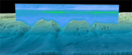 static image of a near-nadir beam curtain of sonar data overlaid onto a coastal relief model