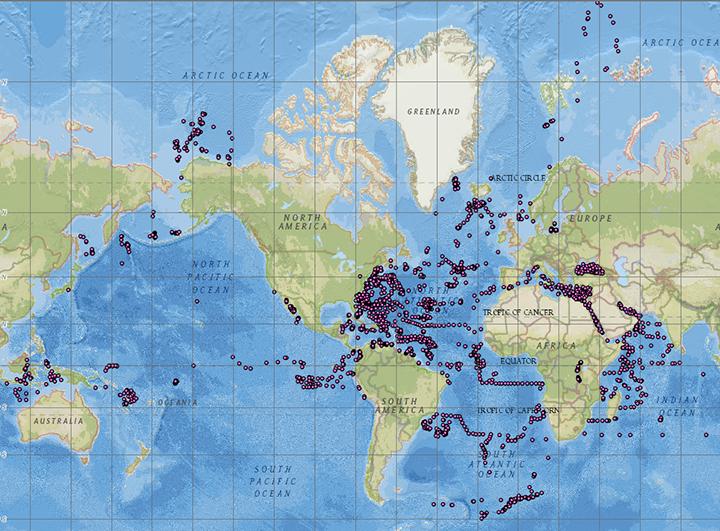 image of sea floor sample locations