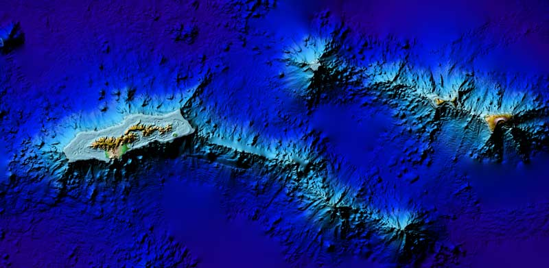 3D image view of Pago Pago DEM, American Samoa