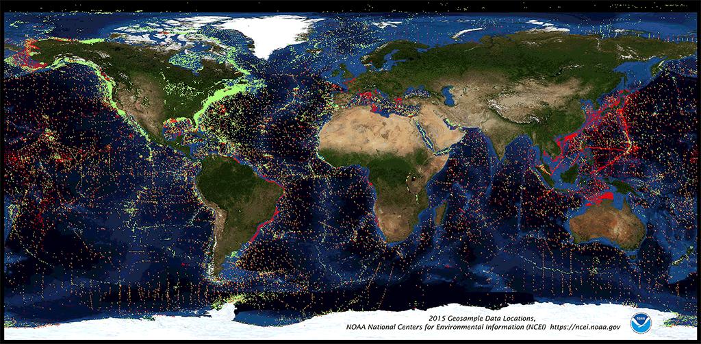 Sea Floor Elevation Data : Sea floor and lakebed sediment rock geosample data