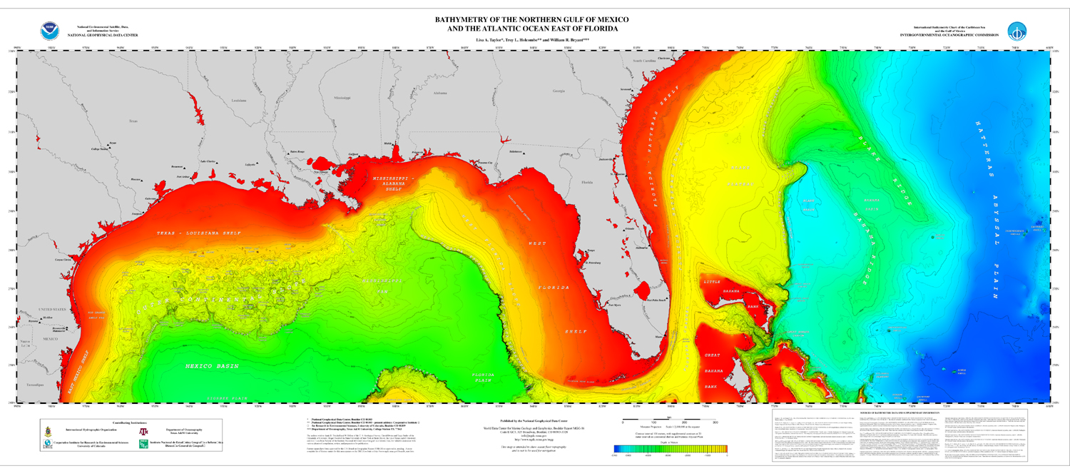 poster northern gulf of mexico and atlantic coast bathymetry ncei