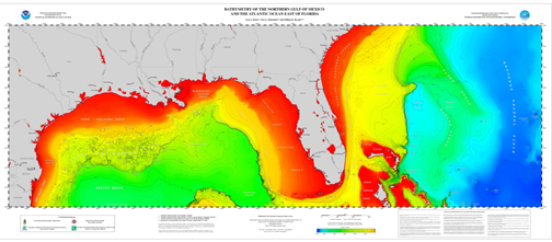 view large version of Bathymetry of the Northern Gulf of Mexico poster, jpg.