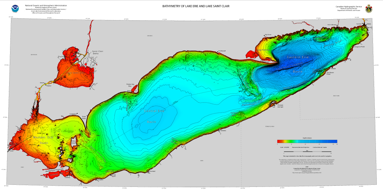 preview . bathymetry of lake erie and lake saint clair  ncei