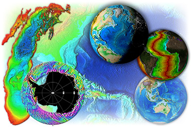 collage of images created by NGDC/MGG staff from data in the NGDC archives