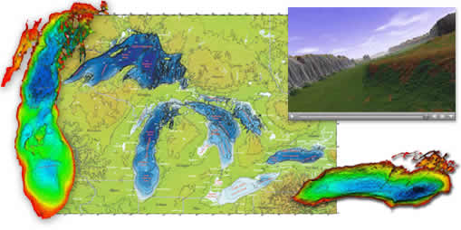 collage of Great Lakes bathymetry images