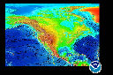 view color relief map of fracture zones and plate boundaries around North America.