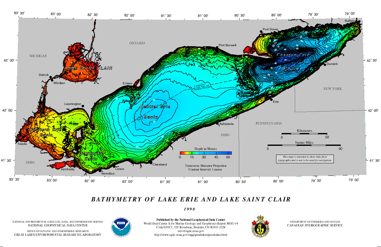 Posters And Icosahedra NCEI - Lake erie topographic map