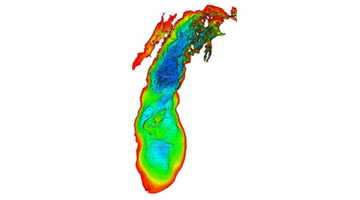 view large jpg image of Lake Michigan bathymetry.