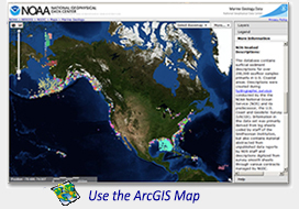 screen shot of Marine Geology Interactive Map Interface