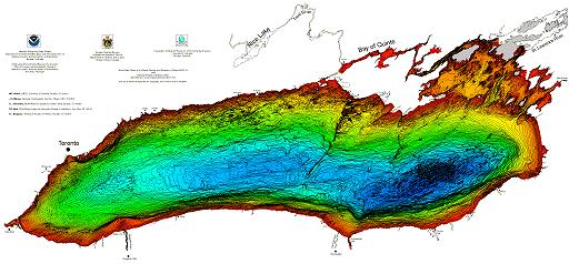 view large jpg image of the bathymetry of Lake Ontario.
